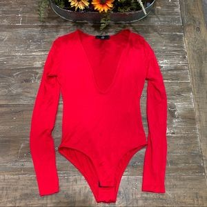 Missguided red deep neck bodysuit US 2